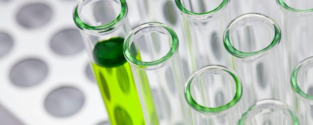 unsplash - flasks in lab
